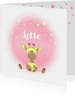 Geboorte meisje lief roze met girafje en sterren