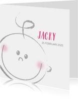 Geboorte meisjes of jongens kaart met blij baby gezichtje