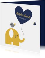 Geboorte - Olifantje met hartjes ballon