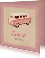 Geboorte retro busje roze - BK