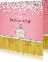 Felicitatiekaarten - Geboorte schattig kaartje met een lief kindje en hartjes