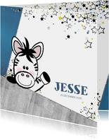 Geboorte stoer en lief  kaartje met een zebra en sterren