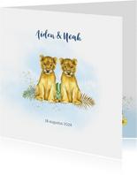 Geboorte tweeling jongetjes leeuwtjes