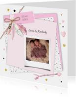 Geboorte tweeling label veertjes