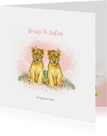 Geboorte tweeling meisje leeuwtjes