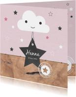 Geboorte - Wolkje, ster, roze