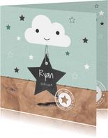 Geboorte - Wolkje, sterren, hout