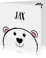 Geboorte zwart-wit kaart lief ijsbeertje