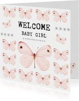 Geboortefelicitatiekaart Welcome Baby Girl met vlinders