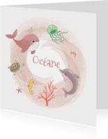 Geboortekaaartjes - Zeedieren meisje