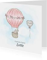 Geboortekaart adoptie meisje - luchtballon