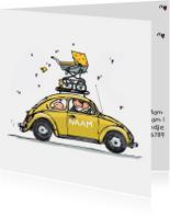 Geboortekaart Auto geel