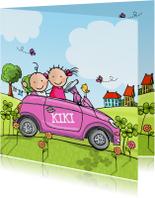 Geboortekaart auto met zus roze