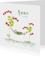 Geboortekaartjes - Geboortekaart baby in hangmatje tussen bloemen