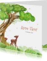 Geboortekaart boom, hertjes en vallende blaadjes