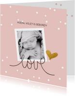 Geboortekaart confetti goud hart