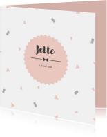 Geboortekaart confetti roze - BC