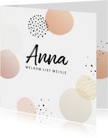 Geboortekaart dots met streep en stip meisje