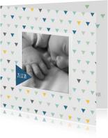 Geboortekaart driehoek kleur jongen