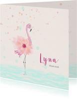 Geboortekaart flamingo met bloem-lijfje