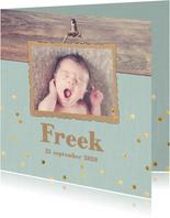 geboortekaart gouden confetti