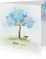 Geboortekaart hertje met boom-jongen