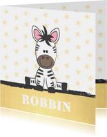 Geboortekaart illustratie van een schattige baby zebra