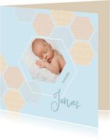 Geboortekaart jongen 6-hoekjes met confetti