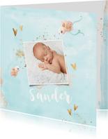 Geboortekaart jongen blauw met gouden hartjes