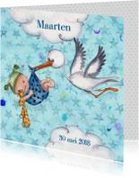 Geboortekaart Jongen & Ooievaar Cartita