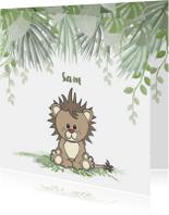 Geboortekaartjes - Geboortekaart jongen lief en stoer leeuwtje in de jungle