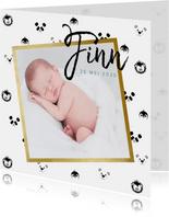 Geboortekaart jongen met dieren patroon en foto