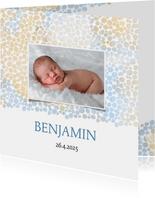 Geboortekaart jongen met dierenprint blauw-bruin