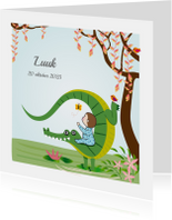 Geboortekaart jongen met krokodil