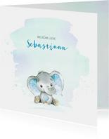 Geboortekaart jongen olifantje waterverf
