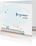 Geboortekaartjes - Geboortekaart jongen trein en vliegtuig