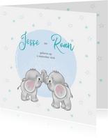 Geboortekaart jongen-tweeling olifantjes