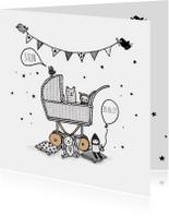 Geboortekaart  kinderwagen av