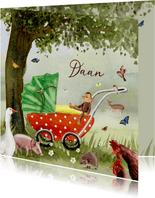 Geboortekaart Kinderwagen onder de boom