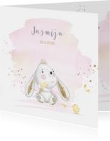 Geboortekaart konijntje - meisje