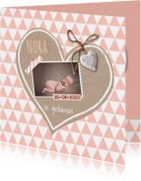 Geboortekaart krafthart roze