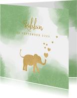 Geboortekaart lief waterverf silhouet olifant met hartjes.