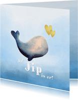 Geboortekaart lieve walvis zee en water accenten