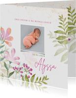 Geboortekaart meisje aquarel bloemen en foto