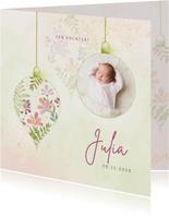 Geboortekaart meisje botanische ballen met foto
