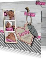 Geboortekaart meisje foto hout