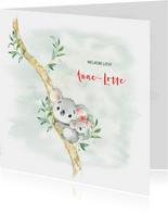 Geboortekaart meisje koala met bloem