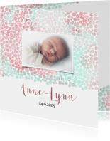 Geboortekaart meisje met dierenprint roze-groen