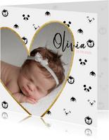 Geboortekaart meisje met foto en zwart-wit dieren patroon