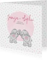 Geboortekaart meisje-tweeling olifantjes